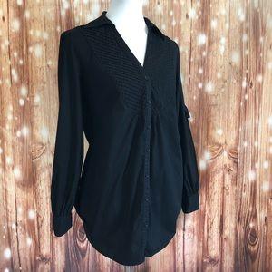 Spense Convertible Sleeve Black Button Up Shirt